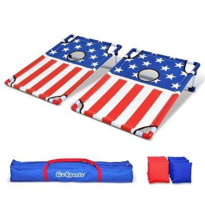 American Flag Portable PVC Framed Cornhole Boards Game Set with 8 Bean Bags and Portable Carrying Case