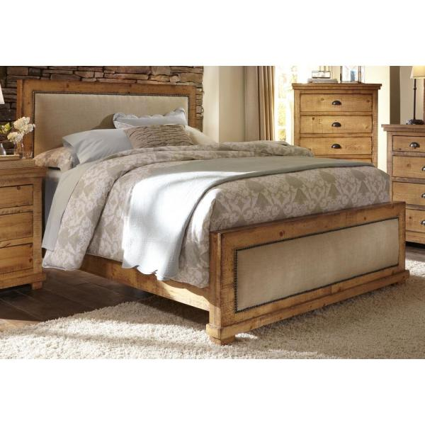 Progressive Furniture Willow Distressed Pine Queen Complete Upholstered Bed