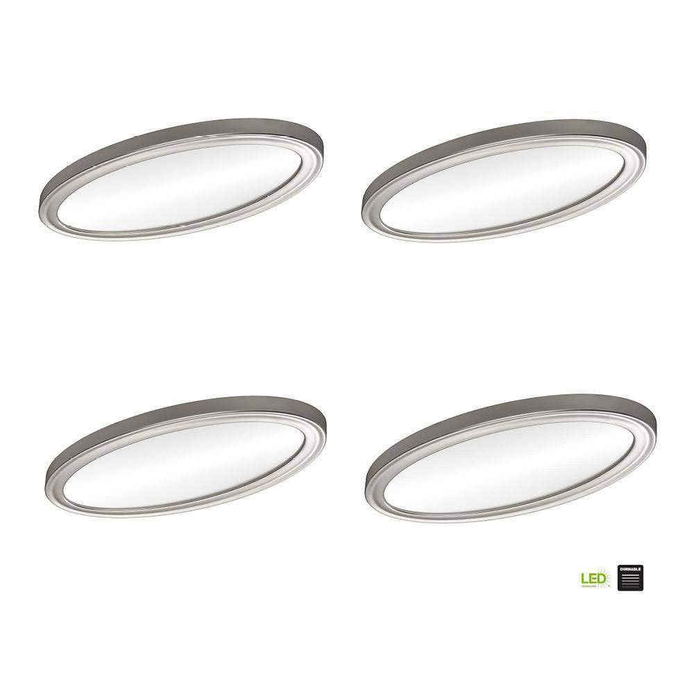 Low Profile 24 in. Oval Brushed Nickel LED Flush Mount Ceiling Light Flat Panel 2200 Lumens 3000K 4000K 5000K (4-Pack)