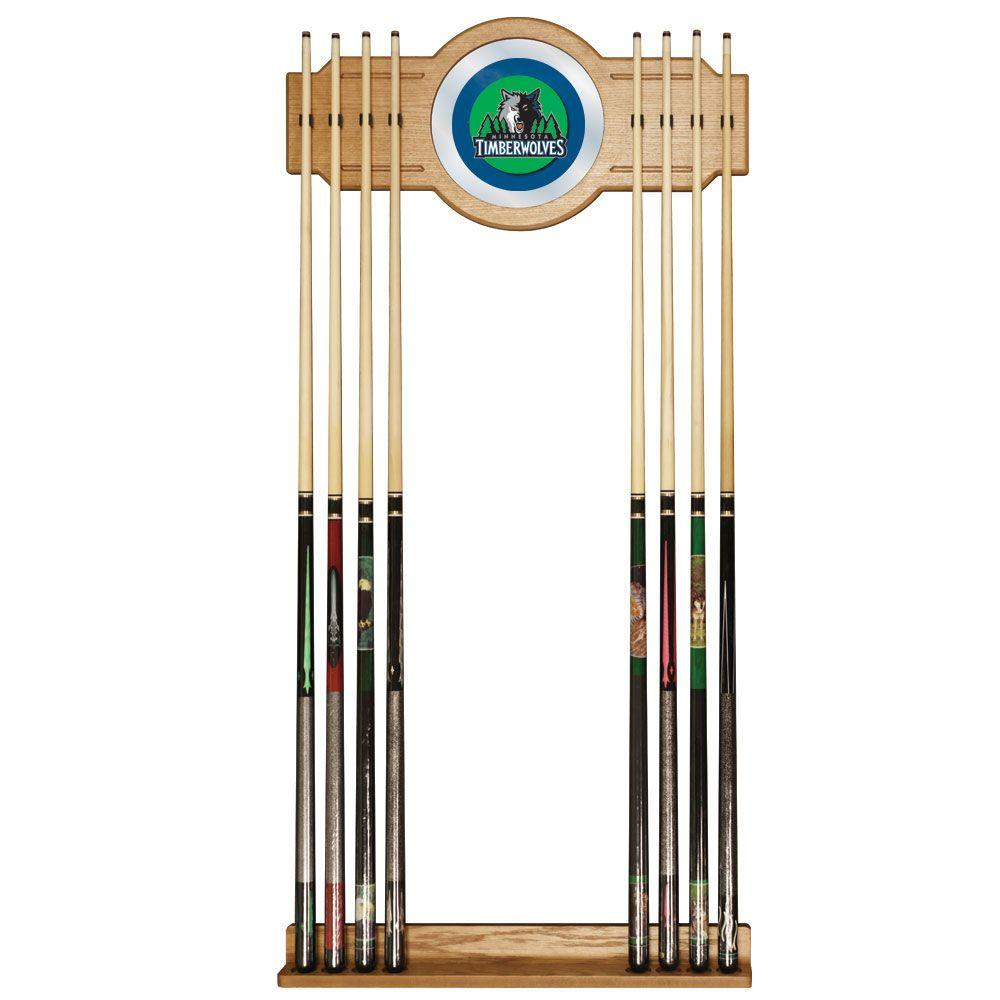 Trademark Minnesota Timberwolves NBA 30 in. Wooden Billiard Cue Rack with Mirror