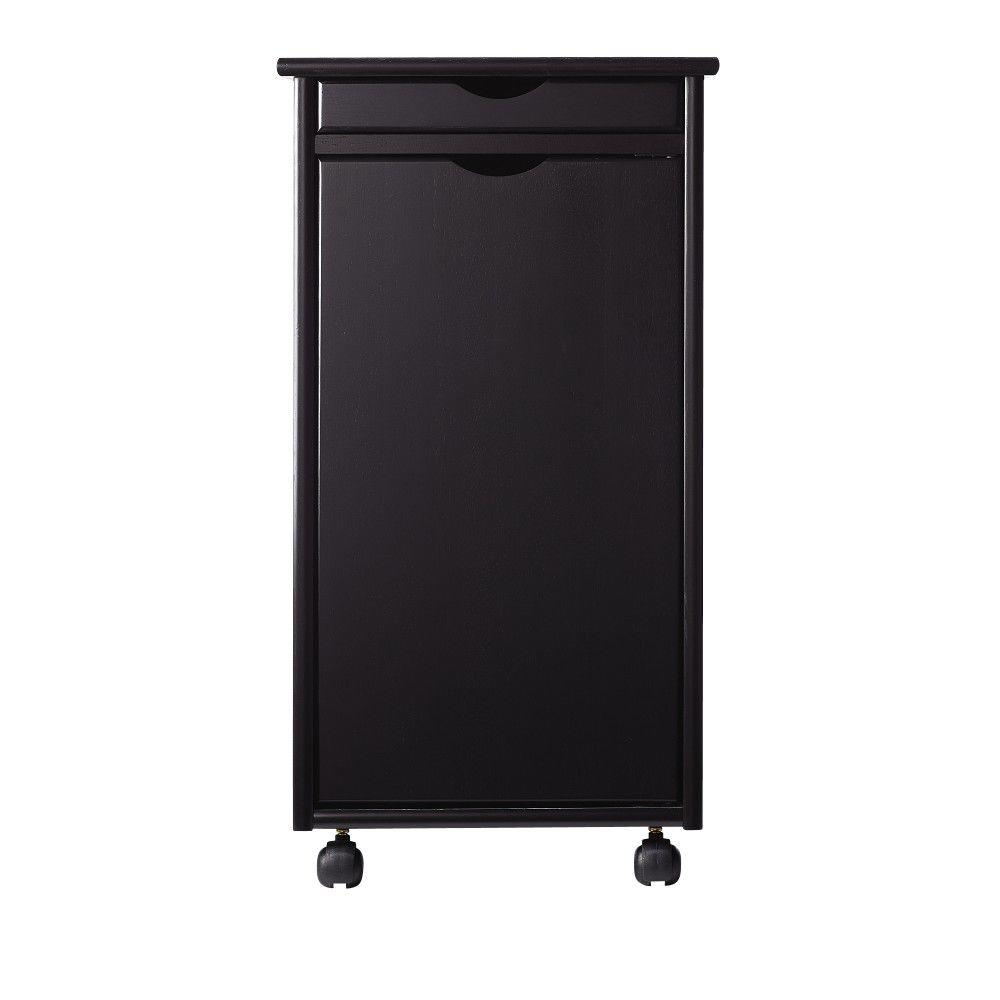 Home Decorators Collection Stanton 15.5 in. Black Shallow Drawer with 1-Door Storage Cart