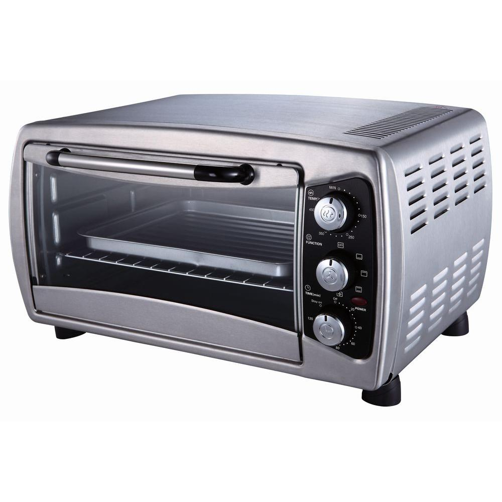 black convection toaster steel on ovens chrome slice p oven stainless sale oster