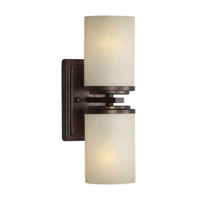 Liam 2-Light Antique Bronze Sconce with Umber Linen Glass