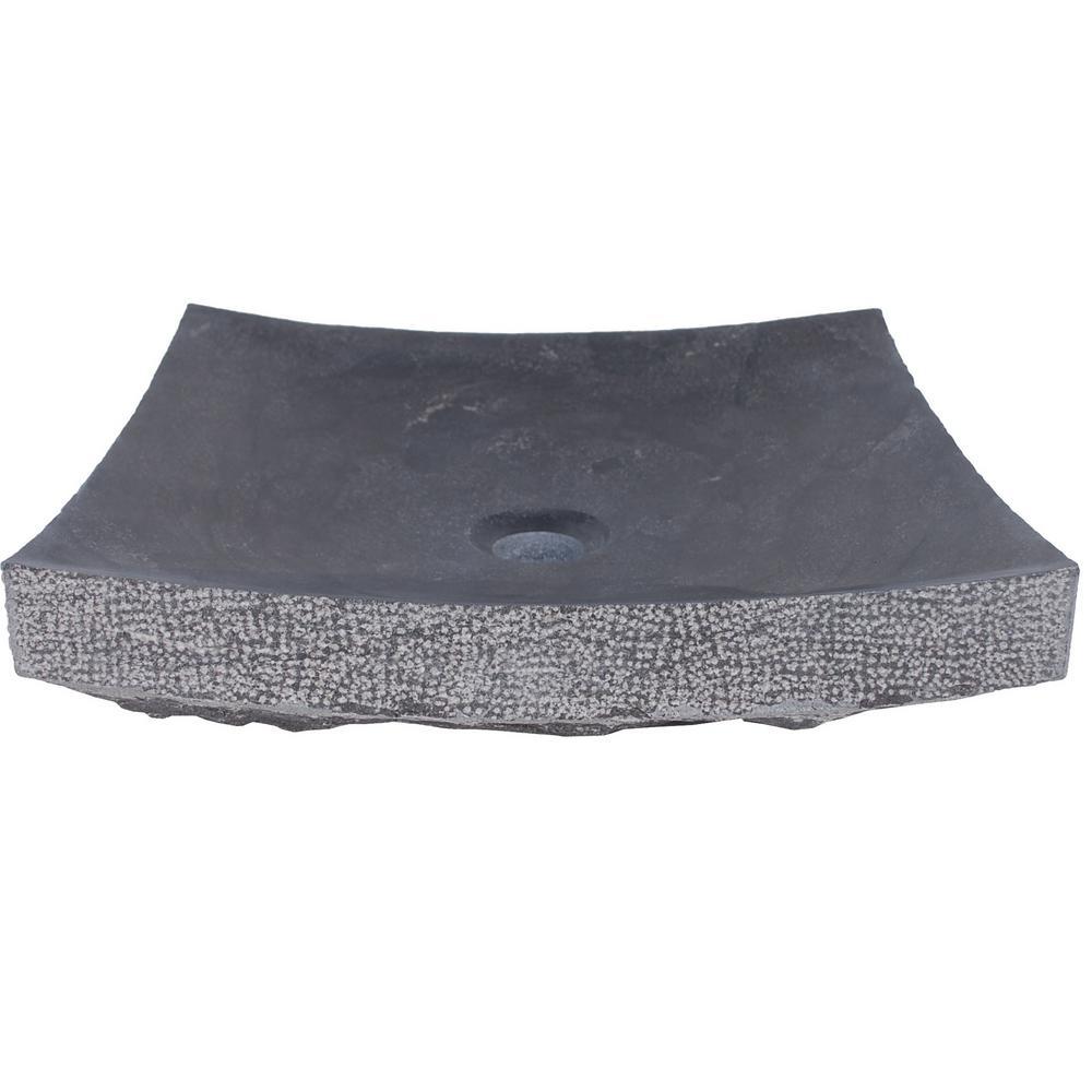 Eden Bath Zen Vessel Sink In Honed Black Limestone