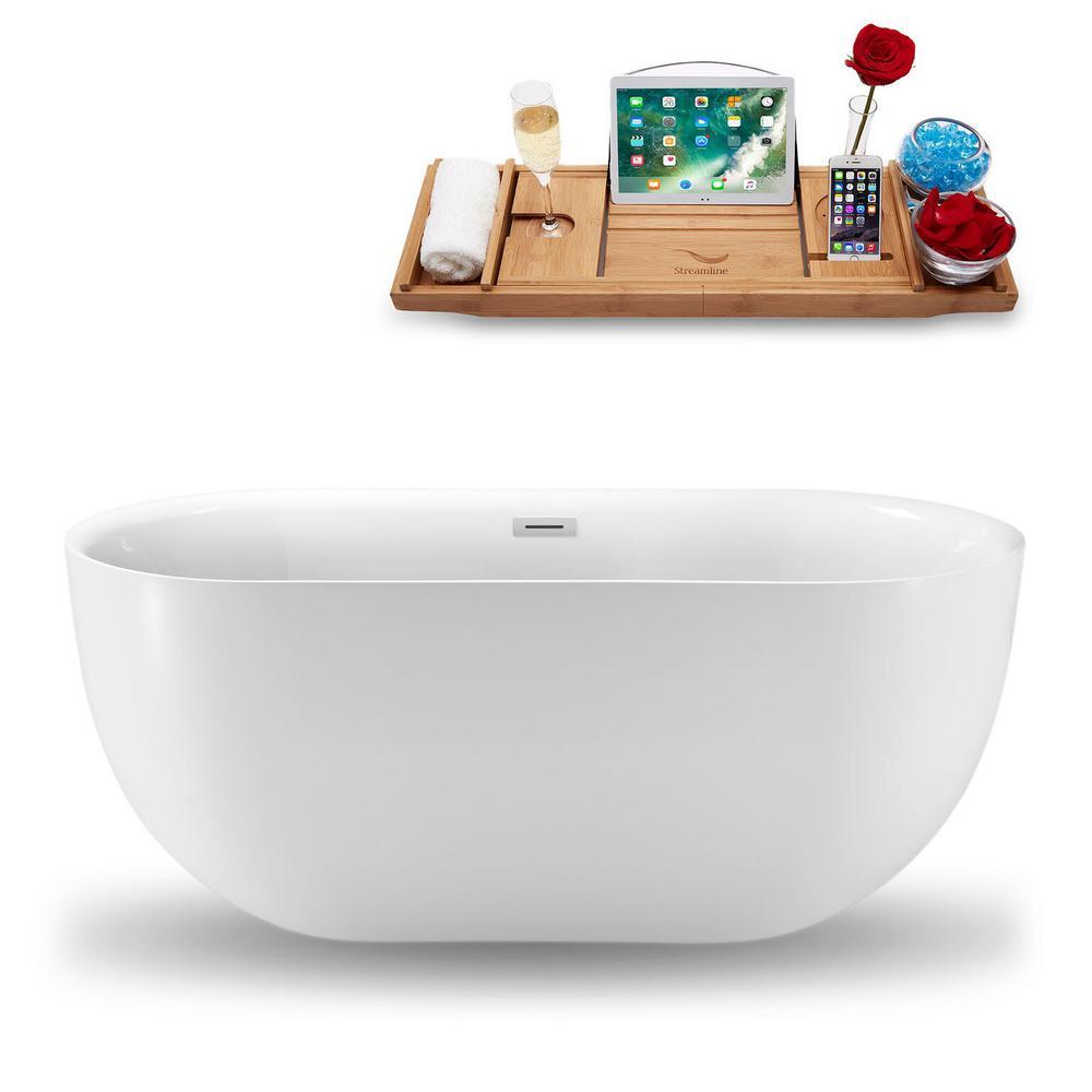 59.1 in. Acrylic Fiberglass Flatbottom Non-Whirlpool Bathtub in White