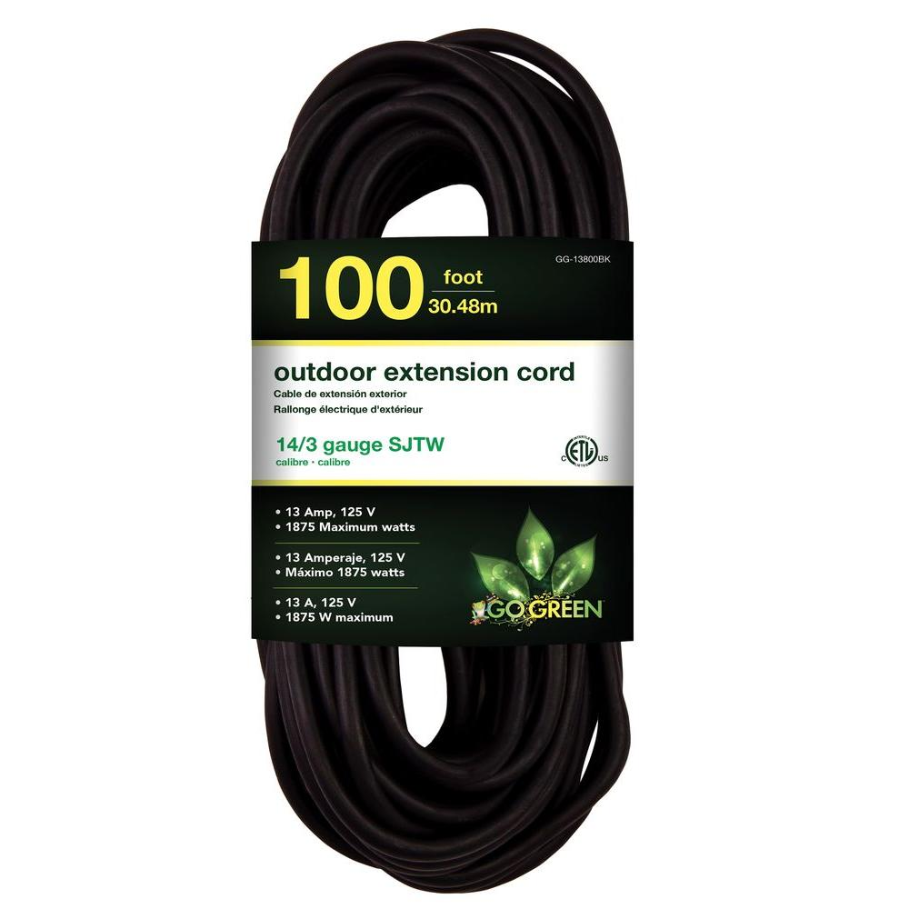 Power By Go Green 100 ft. 14/3 SJTW Outdoor Extension Cord - Black