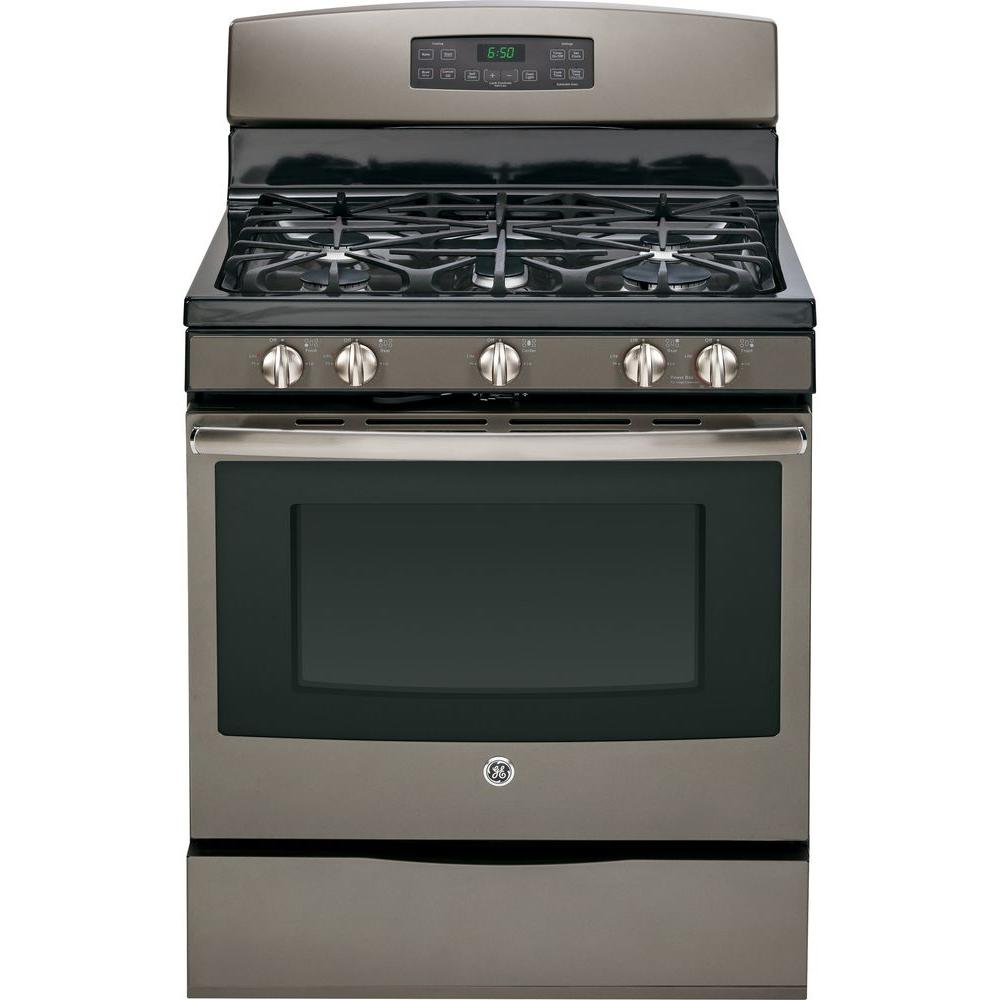 GE 5.0 cu. ft. Gas Range with Self-Cleaning Oven in Slate