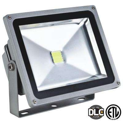 50-Watt (200-Watt Equivalent) Gray 5000K LED Outdoor Dimmable Natural White Flood Light