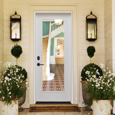 30 in. x 80 in. Premium Full Lite White Primed Fiberglass Prehung Front Door