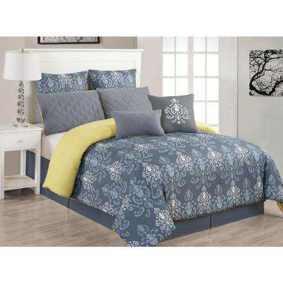 Lucienda 8-Piece Grey and Green Queen Comforter Set