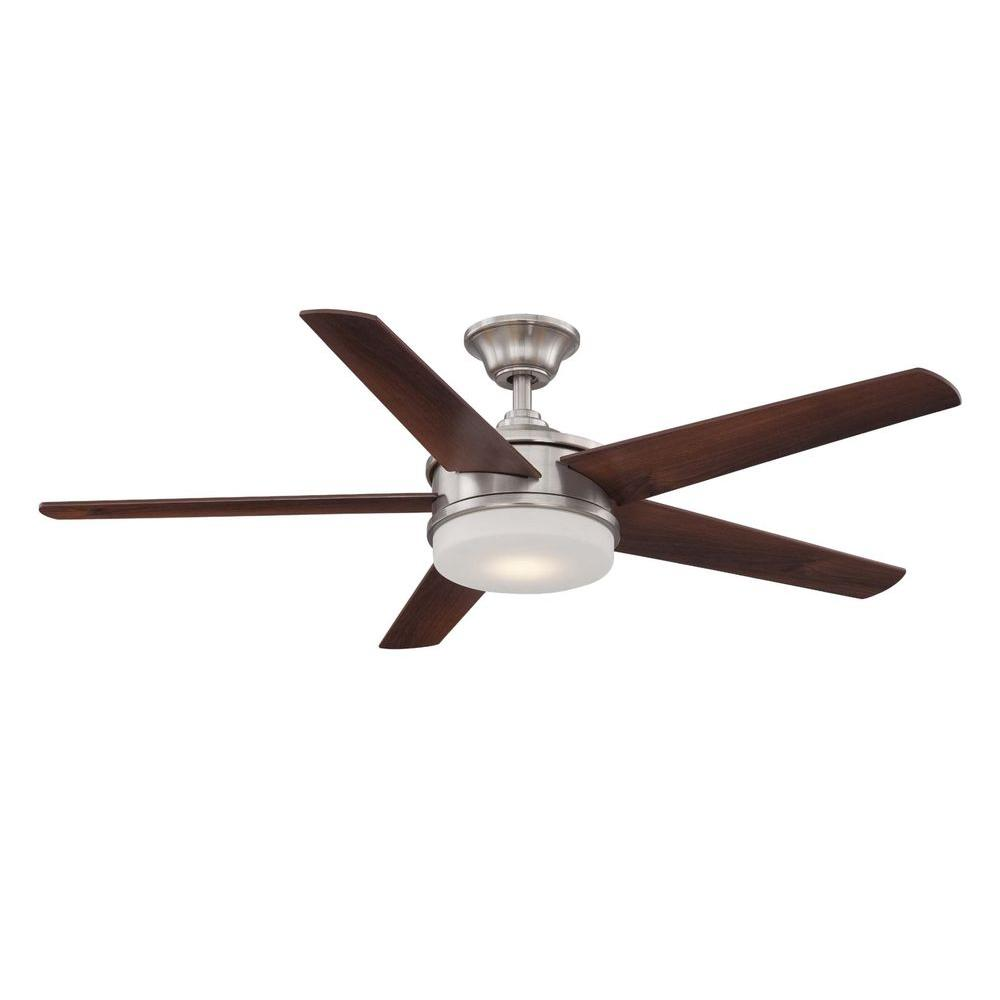 Davrick 52 in. LED Indoor Brushed Nickel Ceiling Fan with Light