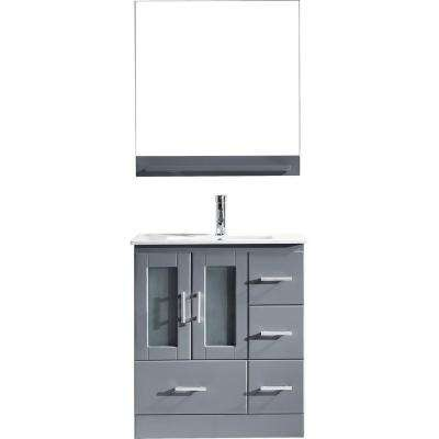 Zola 30 in. W Bath Vanity in Gray with Ceramic Vanity Top in Slim White Ceramic with Square Basin and Mirror and Faucet
