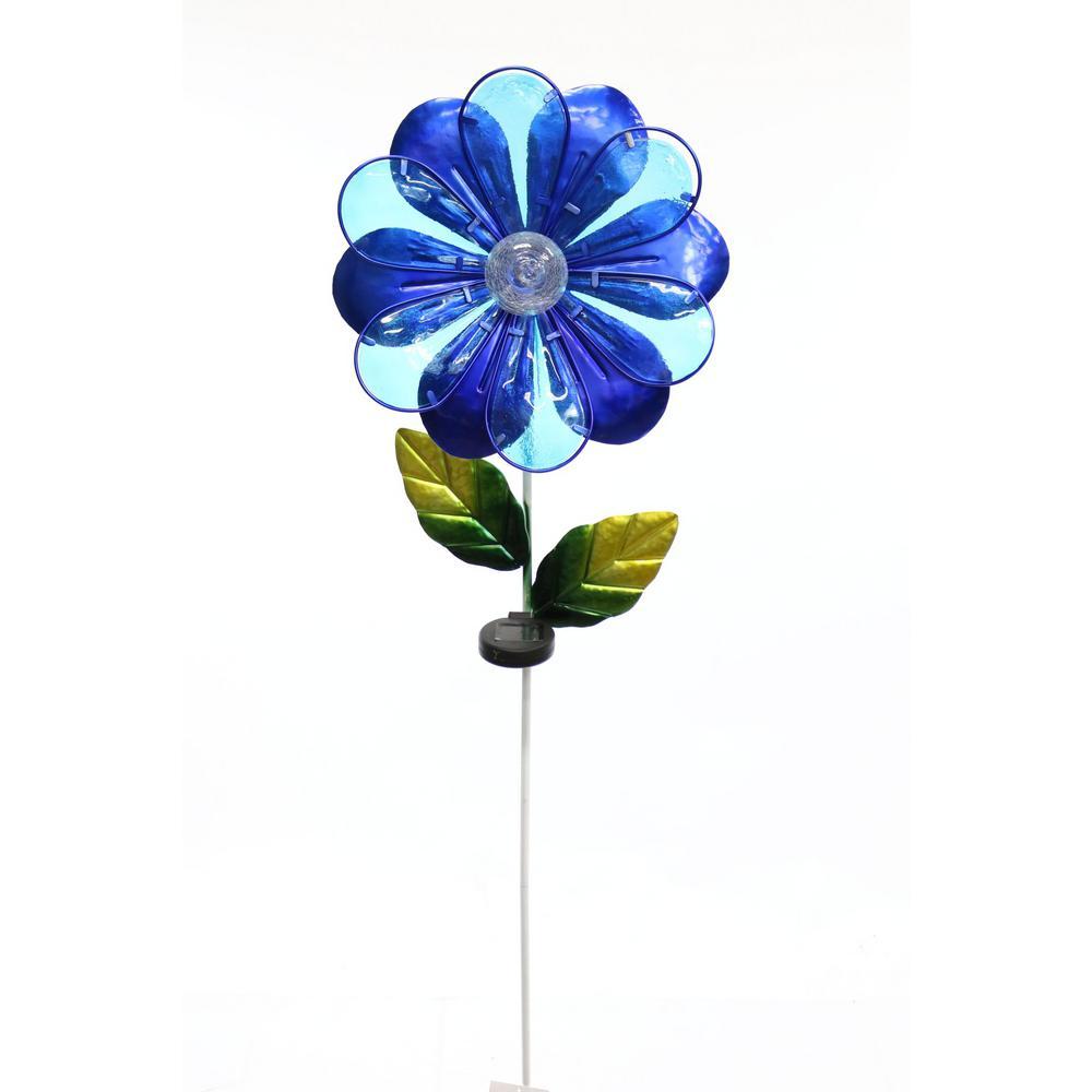 Alpine Solar Blue Flower Garden Stake by Alpine