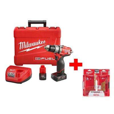 M12 FUEL 12-Volt Cordless Brushless 1/2 in. Hammer Drill Driver Kit with Titanium Shockwave Drill Bit Kit (15-Piece)