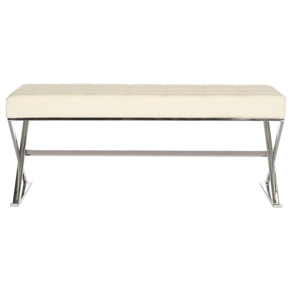 Buy Cheap Mid-century Modern Style Bench With Oatmeal Linen Cushion Cream Bench Black