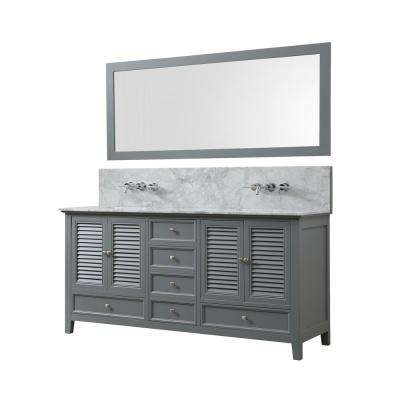 Shutter Premium 72 in. W Bath Vanity in Gray With Carrara White Marble Vanity Top with White Basins and Mirror