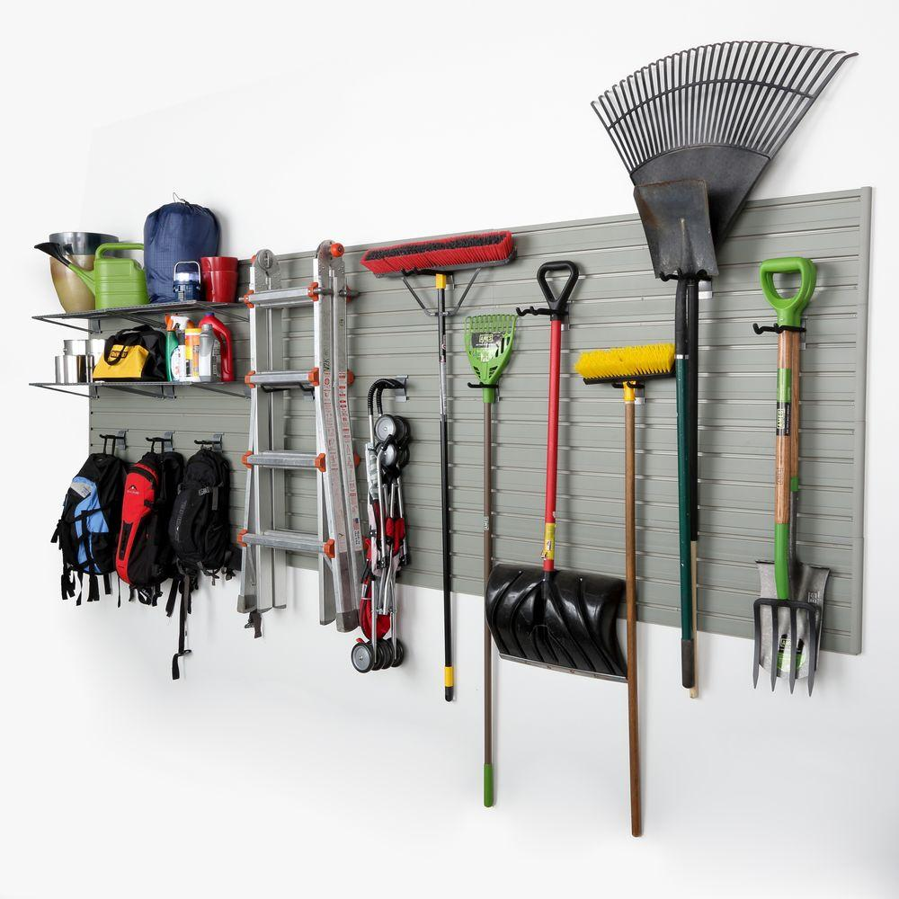 Flow Wall Modular Garage Panel Storage Set With Accessories In Silver 15 Piece Fws 4812 12sb2 The Home Depot