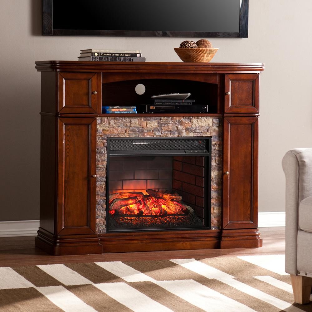 Southern Enterprises Westchester 47 5 In Faux Stone Infrared A Electric Fireplace Tv Stand Espresso