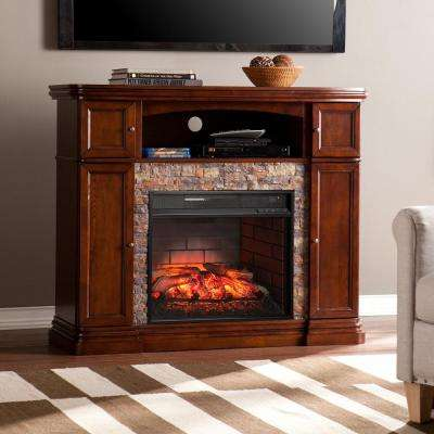 Westchester 47.5 in. Faux Stone Infrared Media Electric Fireplace TV Stand in Espresso