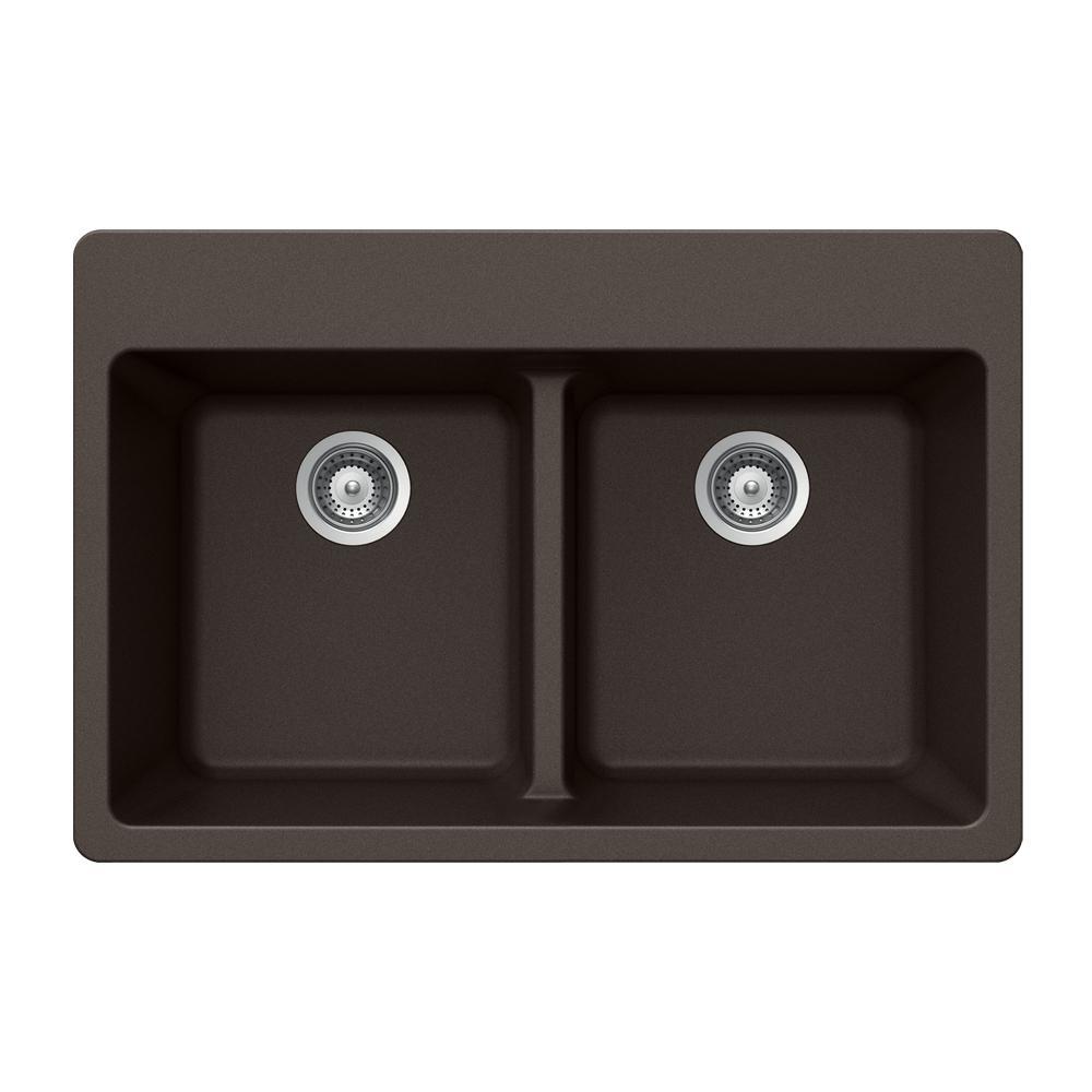Houzer Quartztone Drop In Granite Composite 33 5 Hole Double Bowl Kitchen