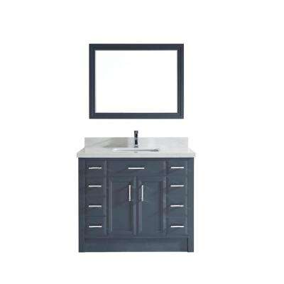 Calais 42 in. W x 22 in. D Vanity in Pepper Gray with Solid Surface Vanity Top in White with White Basin and Mirror