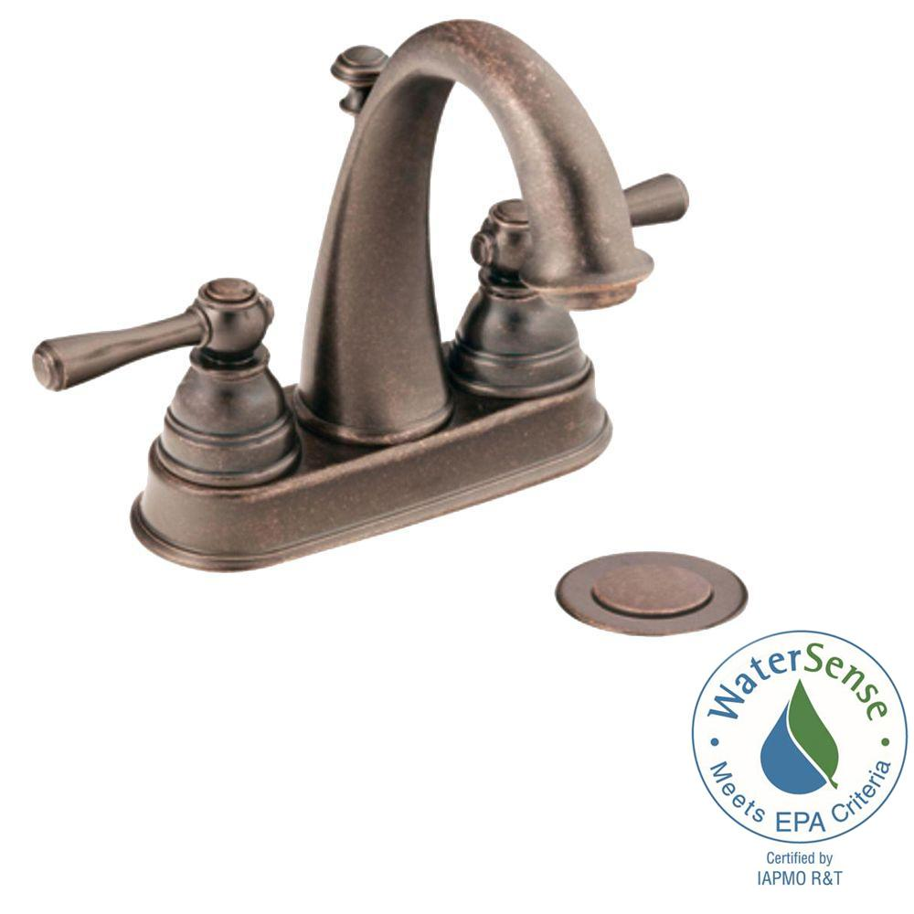 MOEN Kingsley 4 in. Centerset 2-Handle High-Arc Bathroom Faucet in Oil Rubbed Bronze with Drain Assembly