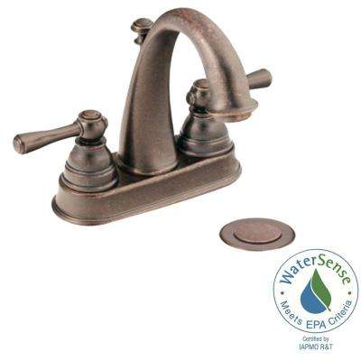 Kingsley 4 in. Centerset 2-Handle High-Arc Bathroom Faucet in Oil Rubbed Bronze with Drain Assembly