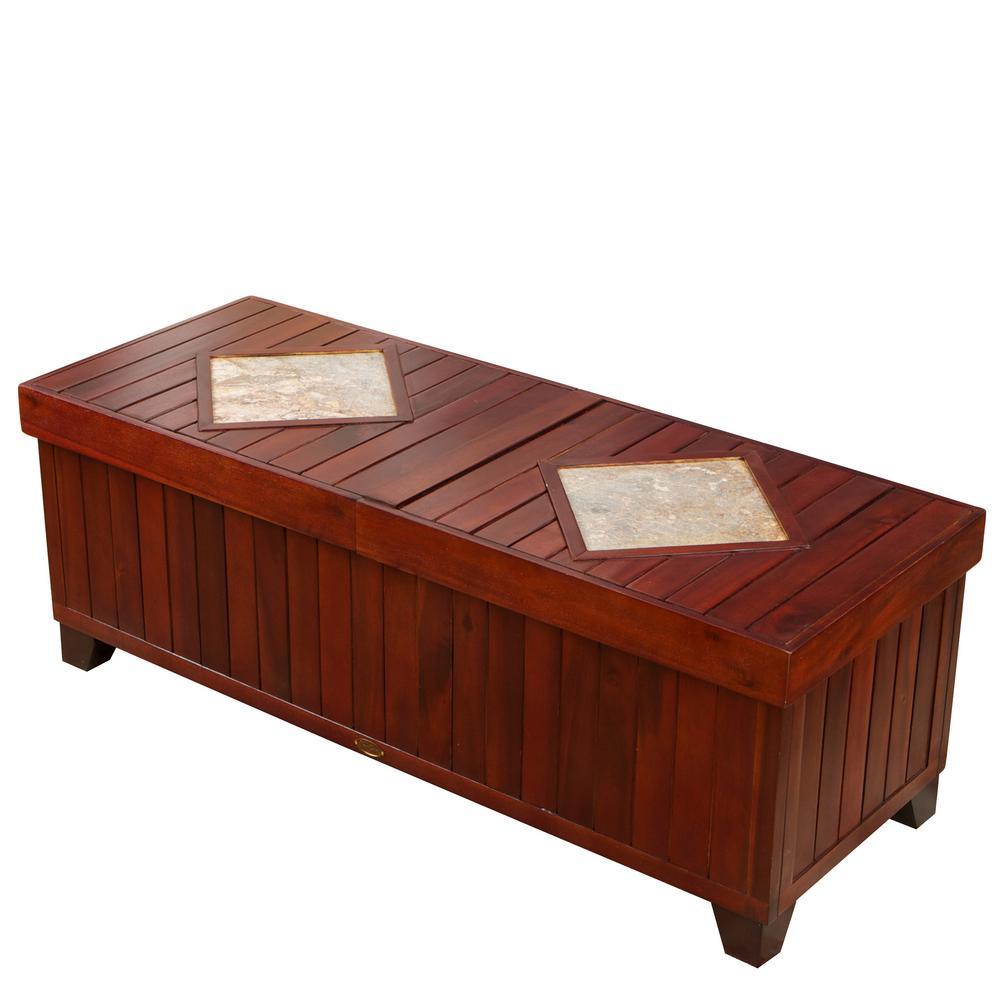 Fort Worth Mahogany Brown Acacia Wood Storage Bench