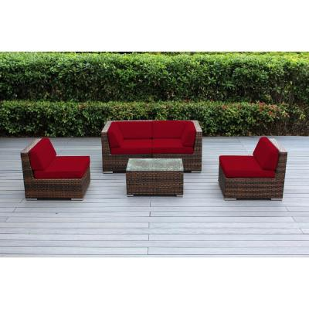 Ohana Mixed Brown 5-Piece Wicker Patio Seating Set with Sunbrella Jockey Red Cushions