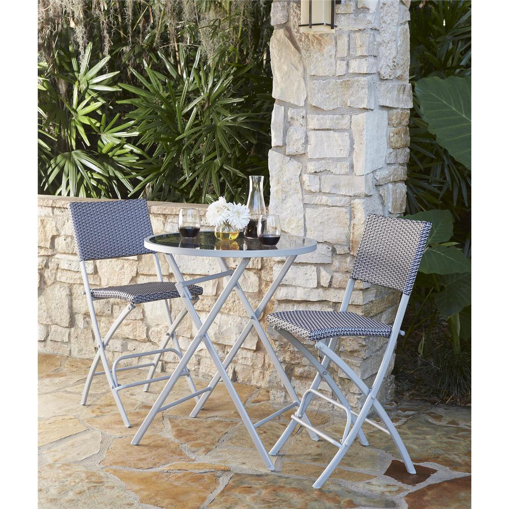 Cosco Delray Transitional 3-Piece Steel Blue & Gray Woven...