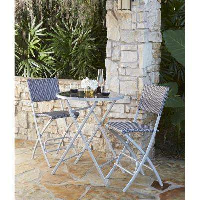 Delray Transitional 3-Piece Steel Blue & Gray Woven Wicker High Top Folding Patio Bistro Set