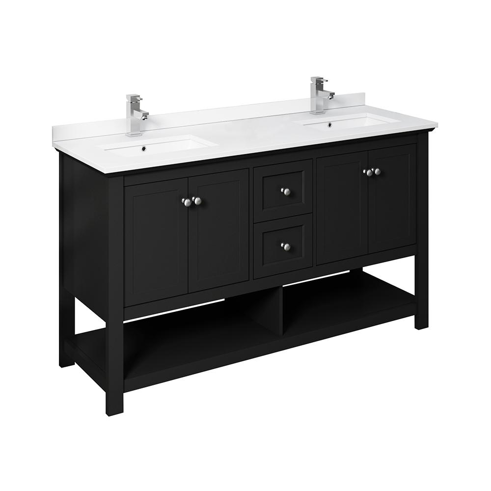 Fresca Manchester 48 in. W Bathroom Double Bowl Vanity in Black with Ceramic Vanity Top in White with White Basins