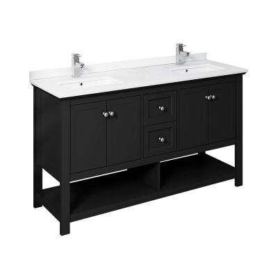 Manchester 60 in. W Bathroom Double Bowl Vanity in Black with Ceramic Vanity Top in White with White Basins