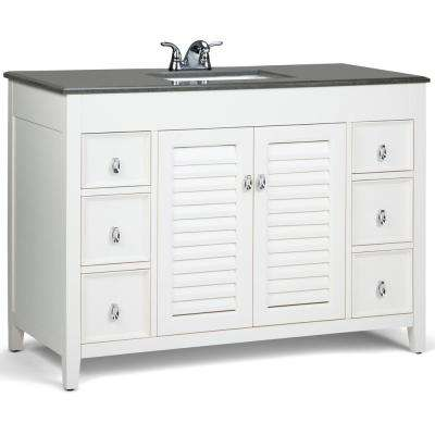 Adele 48 in. W x 21.5 in. D x 34.5 in. H Bath Vanity in Soft White with Granite Vanity Top in Black with White Basin
