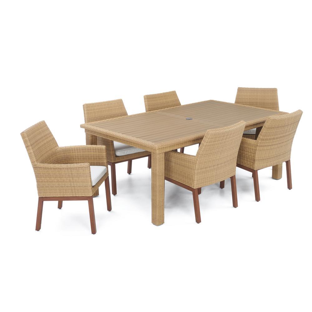 Mili 7 piece wicker outdoor dining set with sunbrella moroccan cream cushions