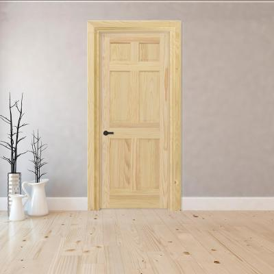 32 in. x 80 in. 6-Panel Right-Hand Unfinished Pine Wood Single Prehung Interior Door with Nickel Hinges