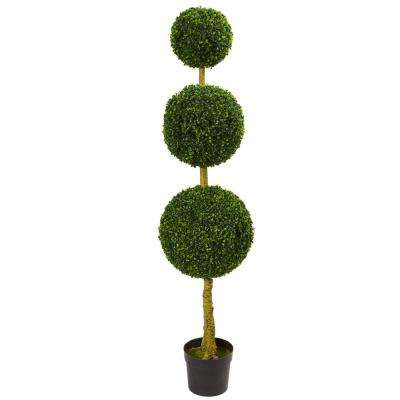 5.5 ft. UV Resistant Indoor/Outdoor Triple Ball Boxwood Artificial Topiary Tree