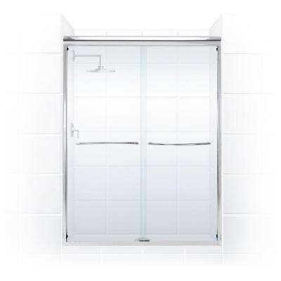 Paragon 3/8 Series 60 in. x 66 in. Semi-Framed Sliding Shower Door with Curved Towel Bar in Chrome and Clear Glass