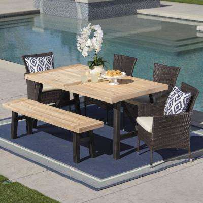 6-Piece Wicker, Wood and Iron Rectangular Outdoor Dining Set with Beige Cushion