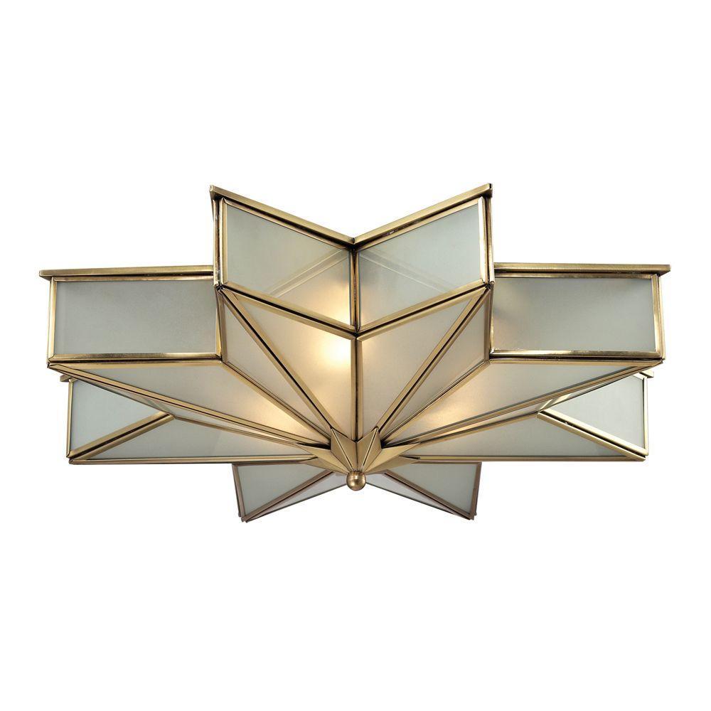 Vitruvius Collection 3-Light Brushed Brass Flushmount
