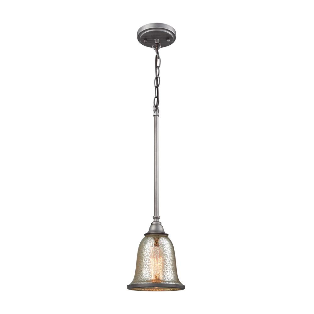Thomas Lighting Georgetown 1 Light Weathered Zinc With Mercury Gl Pendant