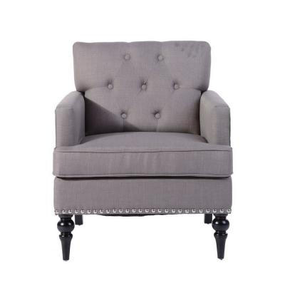 Patten Gray Fabric Tufted Nail Head Arm Chair