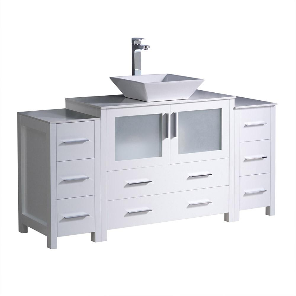 Fresca Torino 60 in. Bath Vanity in White with Glass Stone Vanity Top in White with White Basin
