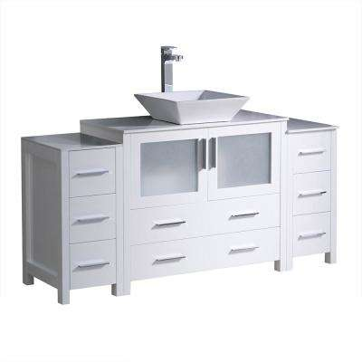 Torino 60 in. Bath Vanity in White with Glass Stone Vanity Top in White with White Basin