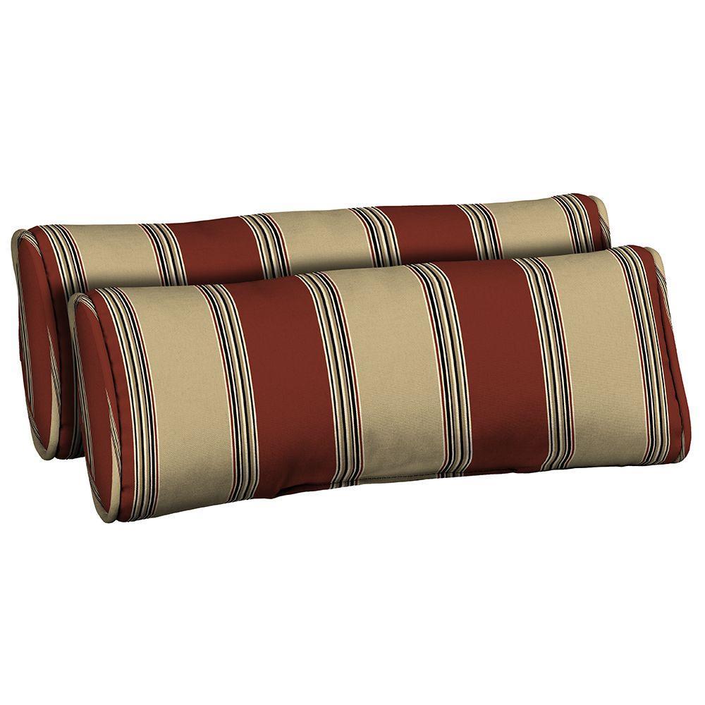 Hampton Bay Chili Stripe Outdoor Bolster Pillow (2-Pack)
