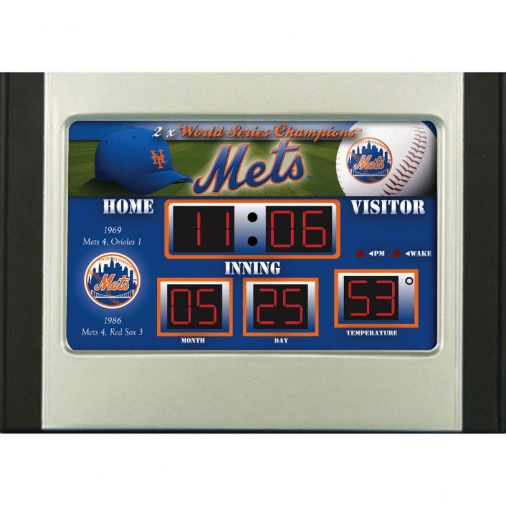 null New York Mets 6.5 in. x 9 in. Scoreboard Alarm Clock with Temperature