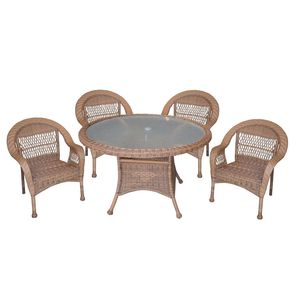Internet 305174038 traditional natural 5 piece wicker patio conversation set