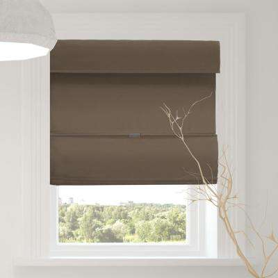 Magnetic Roman Shade Grounded Brown Polyester Cordless Roman Shade - 23 in. W x 64 in. L