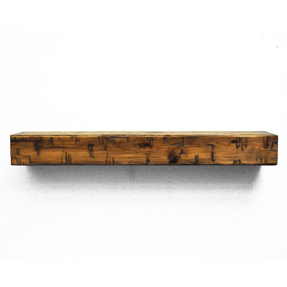 Dogberry Rustic 3 ft. Aged Oak Cap-Shelf Mantel