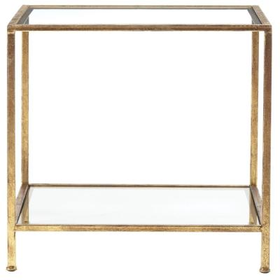 Bella Square Gold Leaf Metal and Glass Accent Table (20 in. W x 24 in. H)